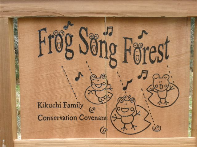 Detail of the sign at the entrance to Frog Song Forest.